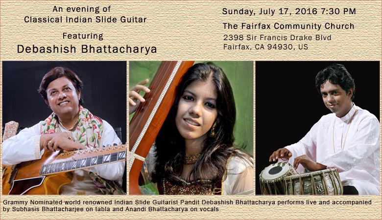 An evening of Classical Indian Slide Guitar - http://www.brownpapertickets.com/event/2562490